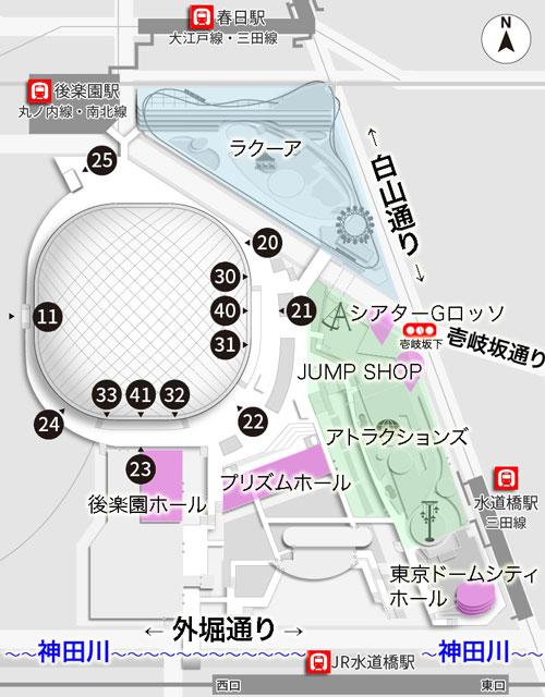 東京ドームのゲートマップ